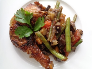 Poelee of vegetables with Caramel coated chicken