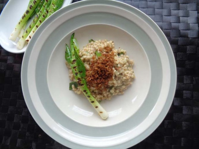 Barsotto with Crispy mince soya and griddled spring onion