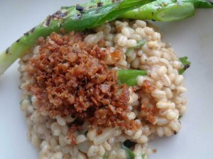 Barsotto with Crispy mince soya & griddled spring onion