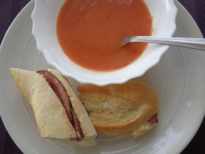 Tomato soup and salami baguette