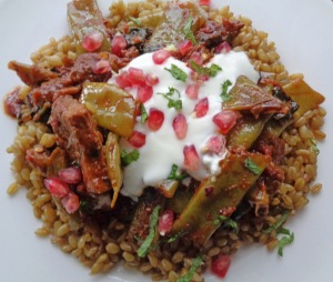 Kıymalı Fasulye-Ispanak serve with sade wheat , natural yogurt and pomegranate