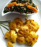 Creamy Spinach & garlic roast potatoes