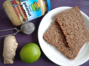 Rye bread and peanut butter